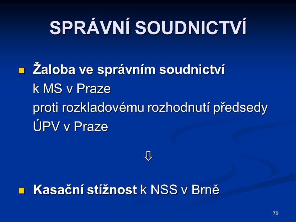SPRÁVNÍ SOUDNICTVÍ Žaloba ve správním soudnictví k MS v Praze