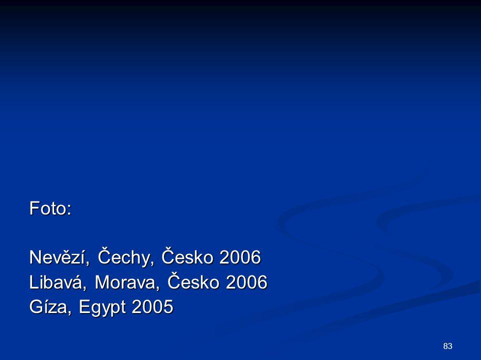 Foto: Nevězí, Čechy, Česko 2006 Libavá, Morava, Česko 2006 Gíza, Egypt 2005
