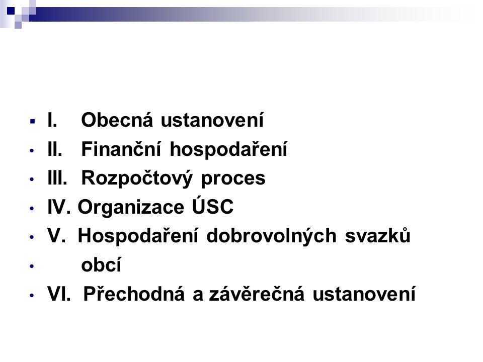 I. Obecná ustanovení II. Finanční hospodaření. III. Rozpočtový proces. IV. Organizace ÚSC. V. Hospodaření dobrovolných svazků.