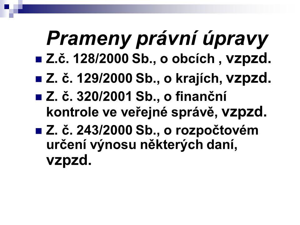 Prameny právní úpravy Z.č. 128/2000 Sb., o obcích , vzpzd.