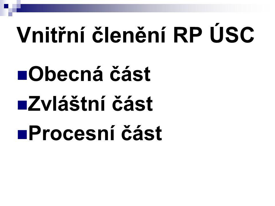 Vnitřní členění RP ÚSC Obecná část Zvláštní část Procesní část