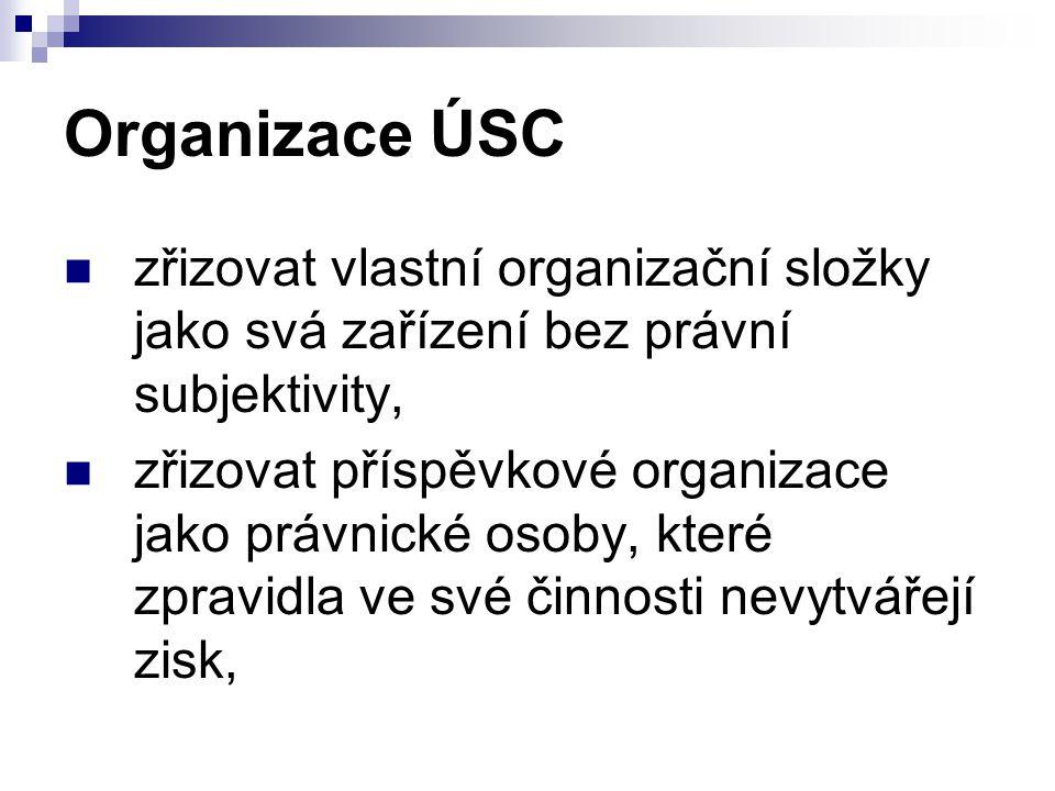 Organizace ÚSC zřizovat vlastní organizační složky jako svá zařízení bez právní subjektivity,