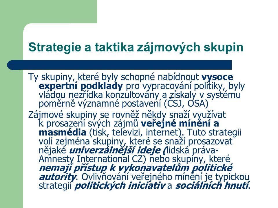 Strategie a taktika zájmových skupin