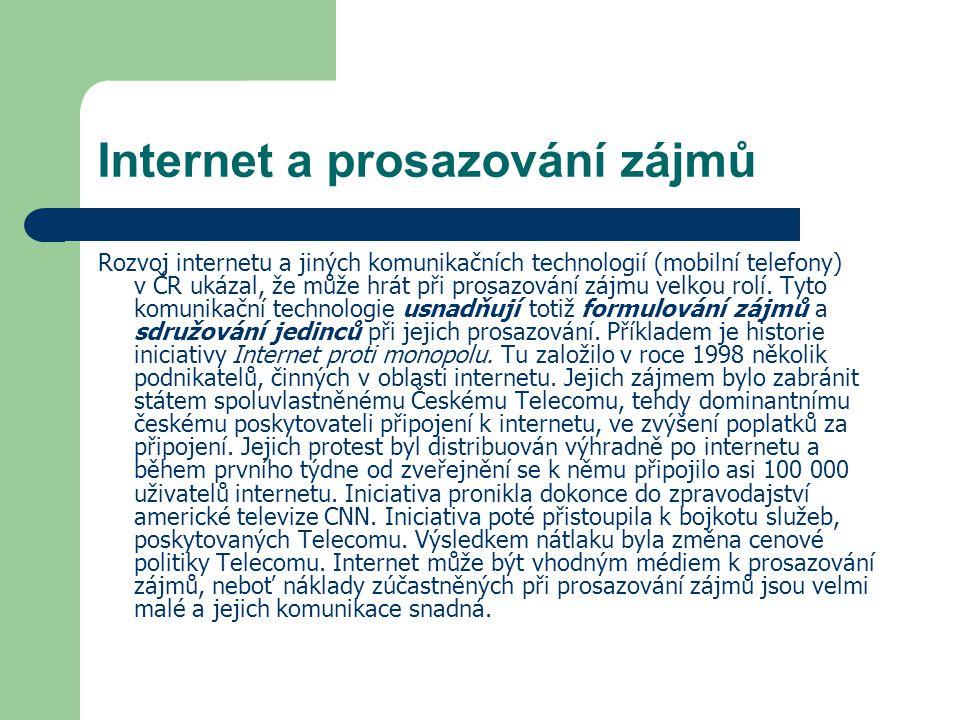 Internet a prosazování zájmů