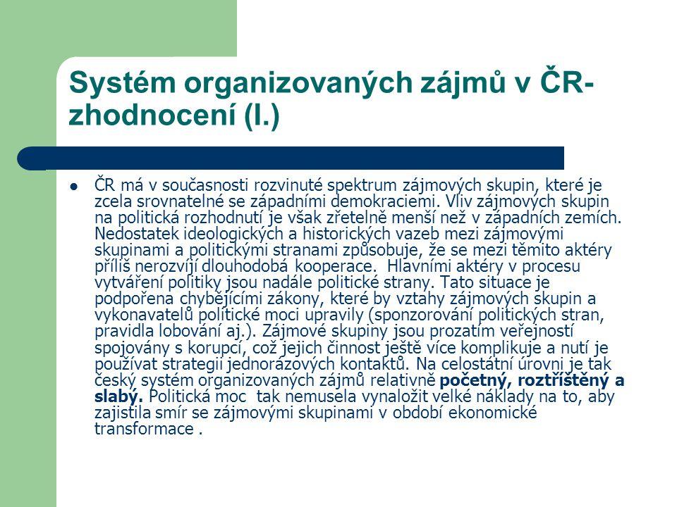 Systém organizovaných zájmů v ČR- zhodnocení (I.)