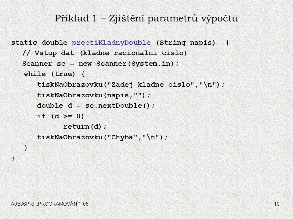 Příklad 1 – Zjištění parametrů výpočtu