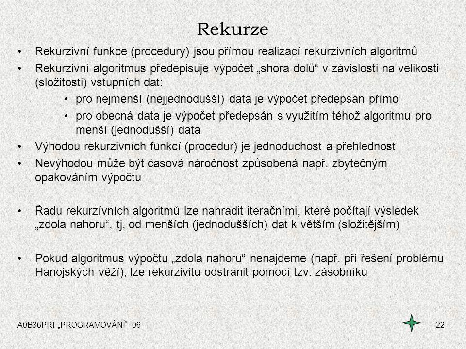 Rekurze Rekurzivní funkce (procedury) jsou přímou realizací rekurzivních algoritmů.