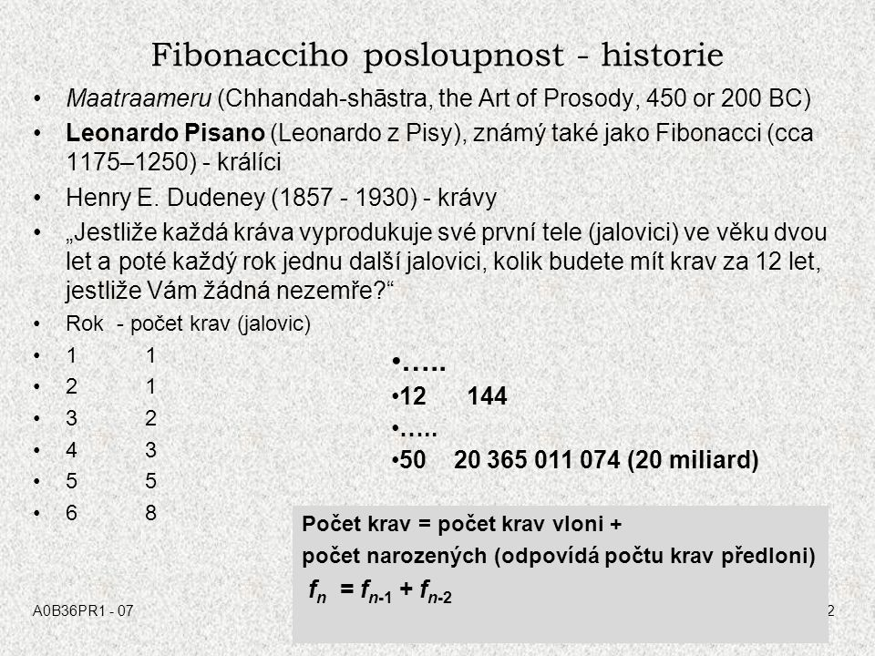 Fibonacciho posloupnost - historie