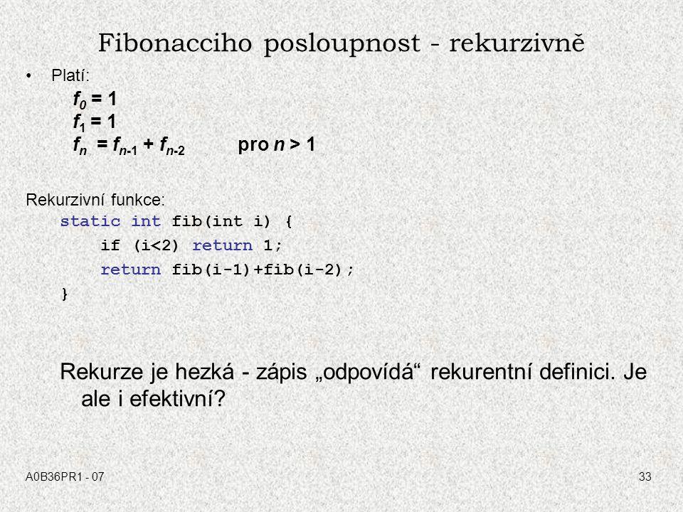 Fibonacciho posloupnost - rekurzivně