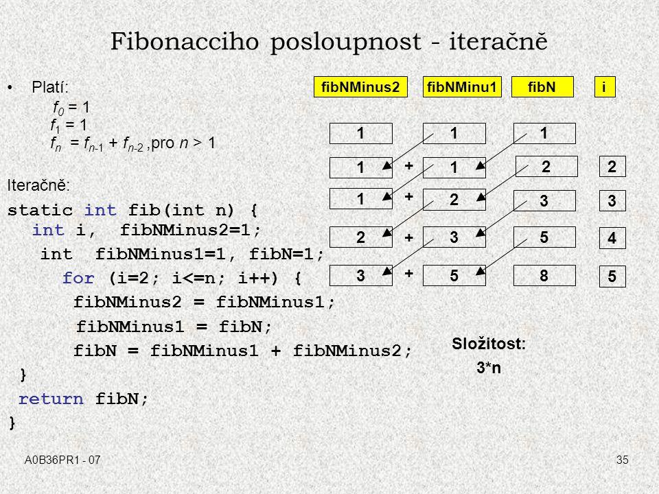Fibonacciho posloupnost - iteračně
