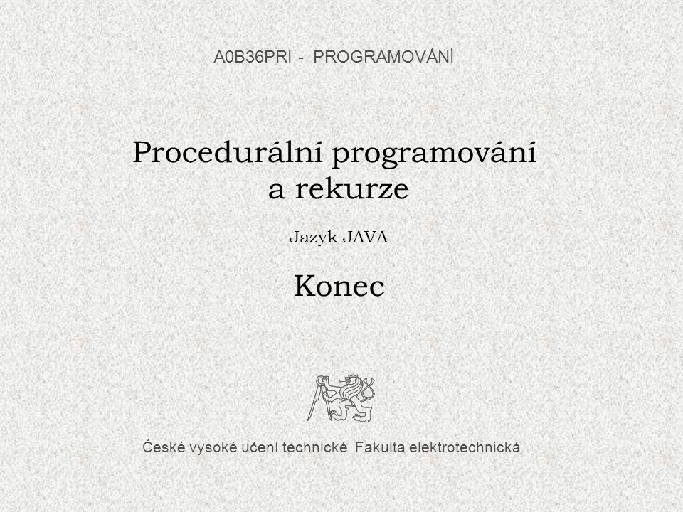 Procedurální programování