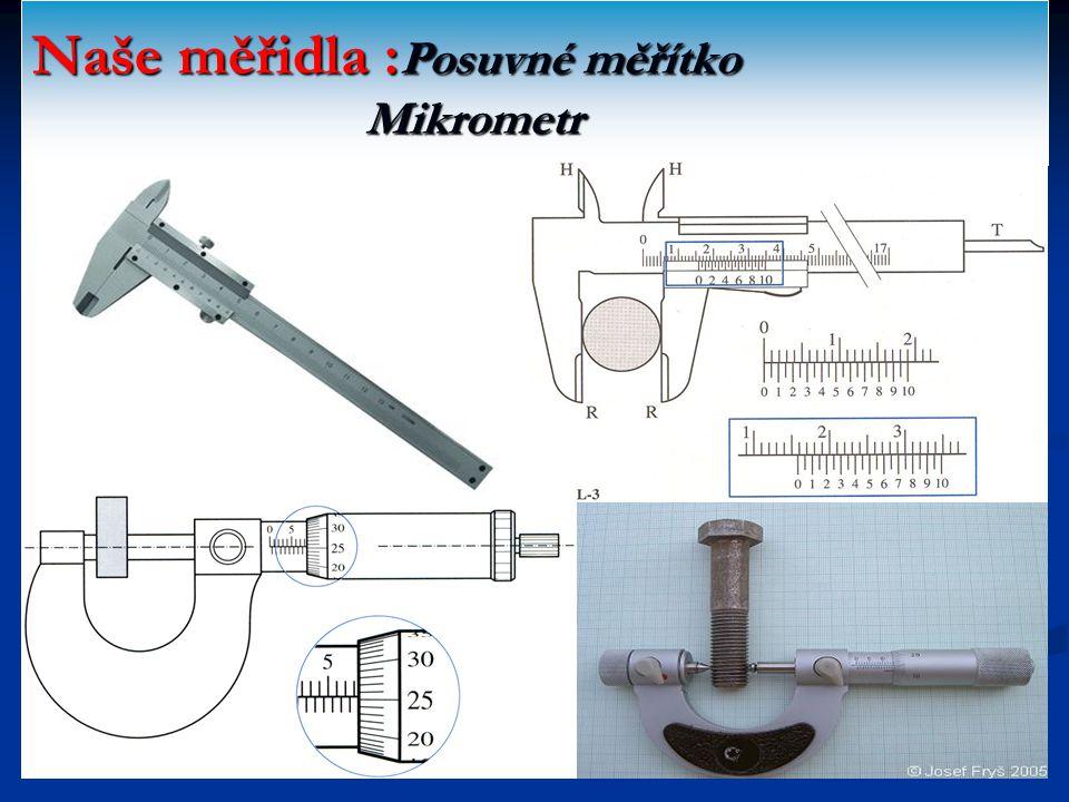 Naše měřidla :Posuvné měřítko Mikrometr