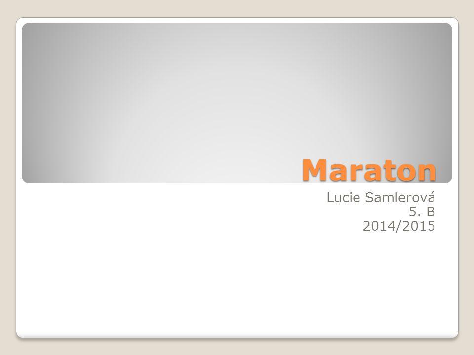Maraton Lucie Samlerová 5. B 2014/2015 Proč jsem si téma vybrala.