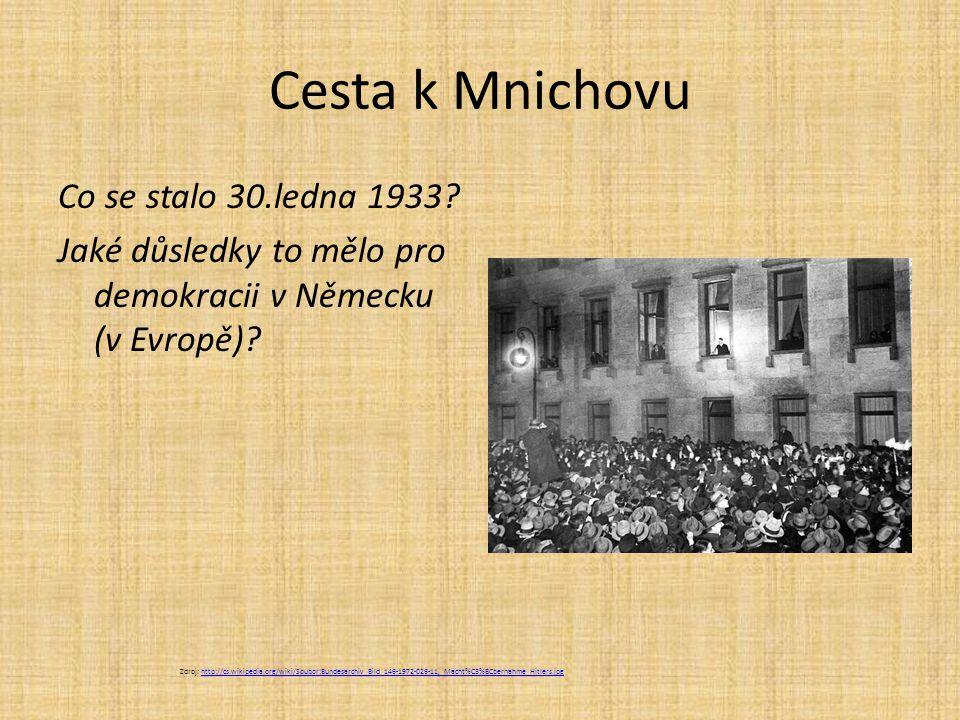 Cesta k Mnichovu Co se stalo 30.ledna 1933 Jaké důsledky to mělo pro demokracii v Německu (v Evropě)