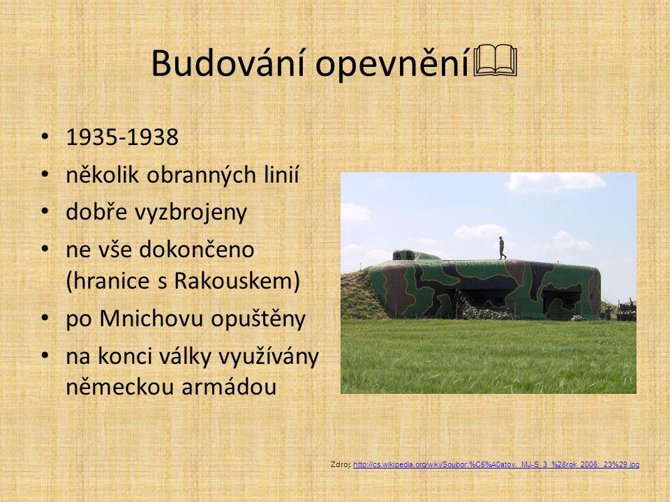 Budování opevnění 1935-1938 několik obranných linií dobře vyzbrojeny