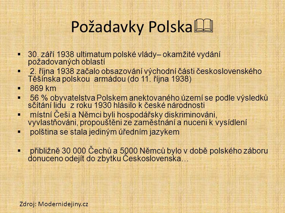 Požadavky Polska 30. září 1938 ultimatum polské vlády– okamžité vydání požadovaných oblastí.