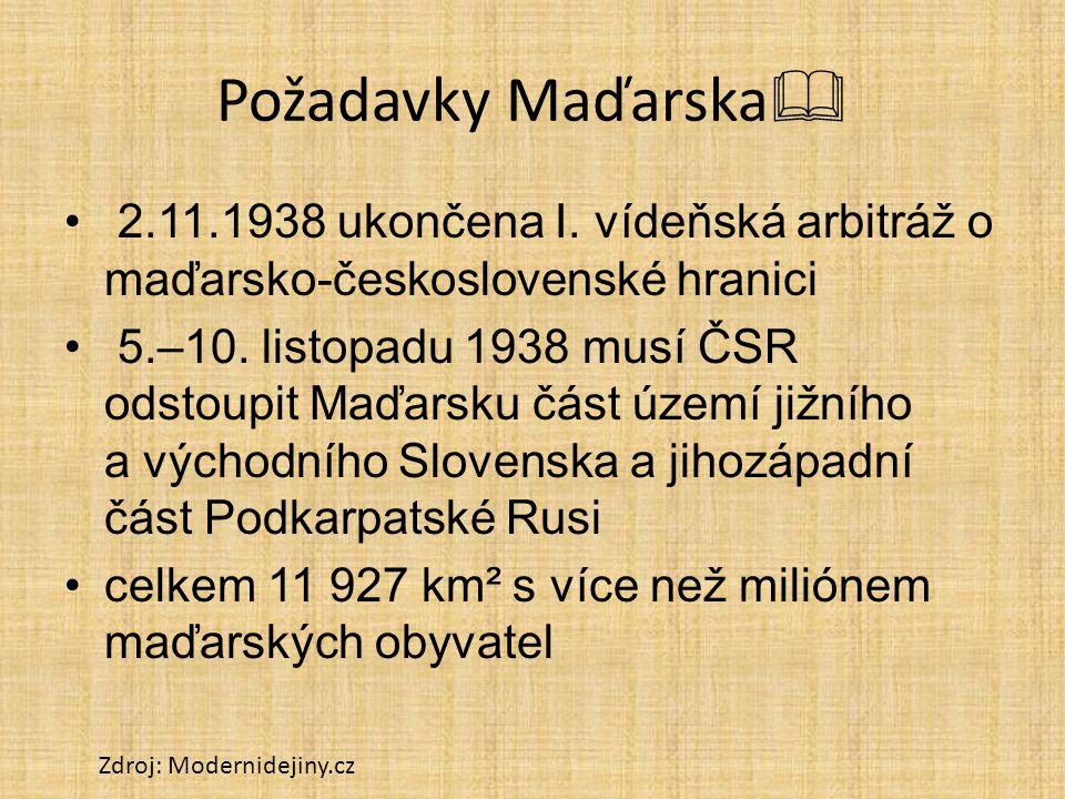 Požadavky Maďarska 2.11.1938 ukončena I. vídeňská arbitráž o maďarsko-československé hranici.