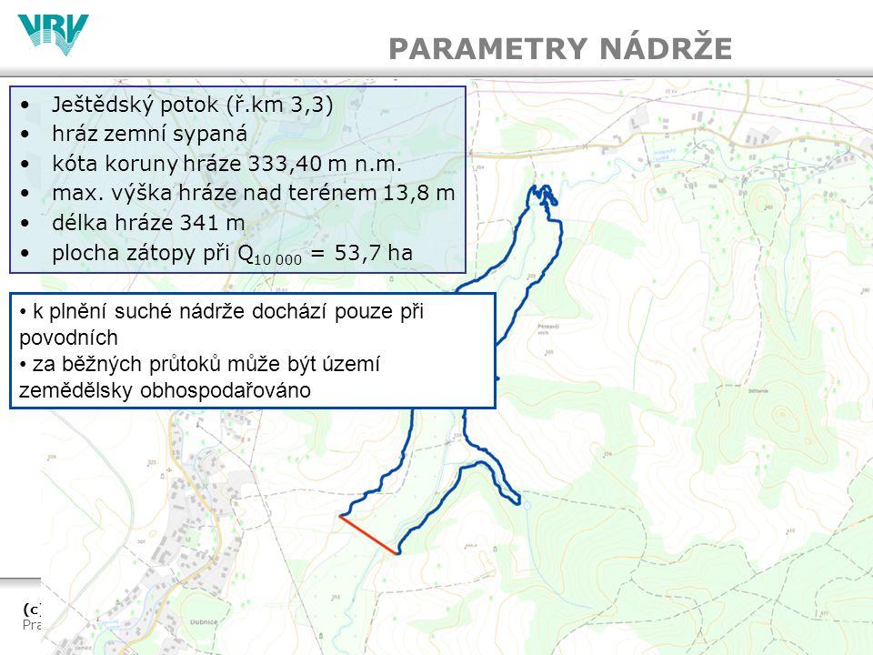 PARAMETRY NÁDRŽE k plnění suché nádrže dochází pouze při povodních
