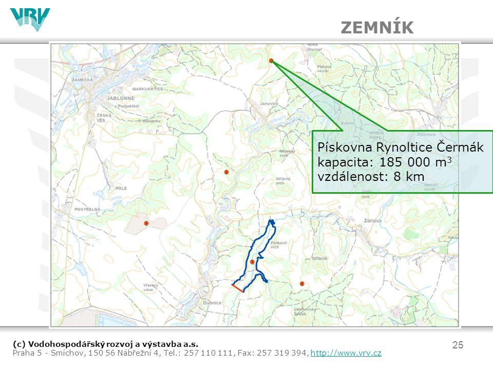ZEMNÍK Pískovna Rynoltice Čermák kapacita: 185 000 m3 vzdálenost: 8 km