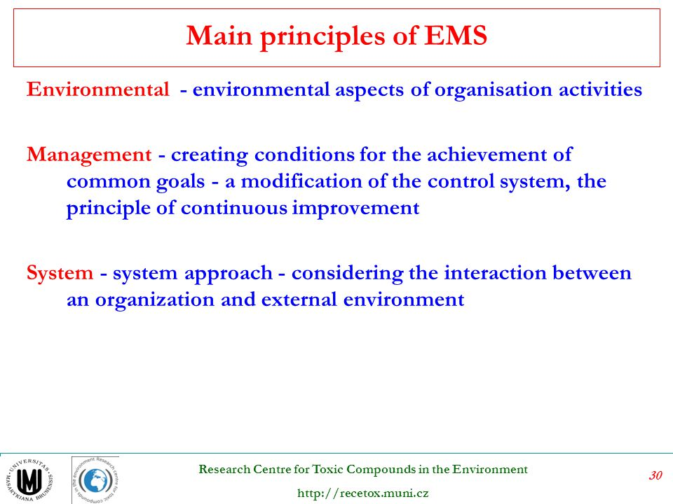 Main principles of EMS