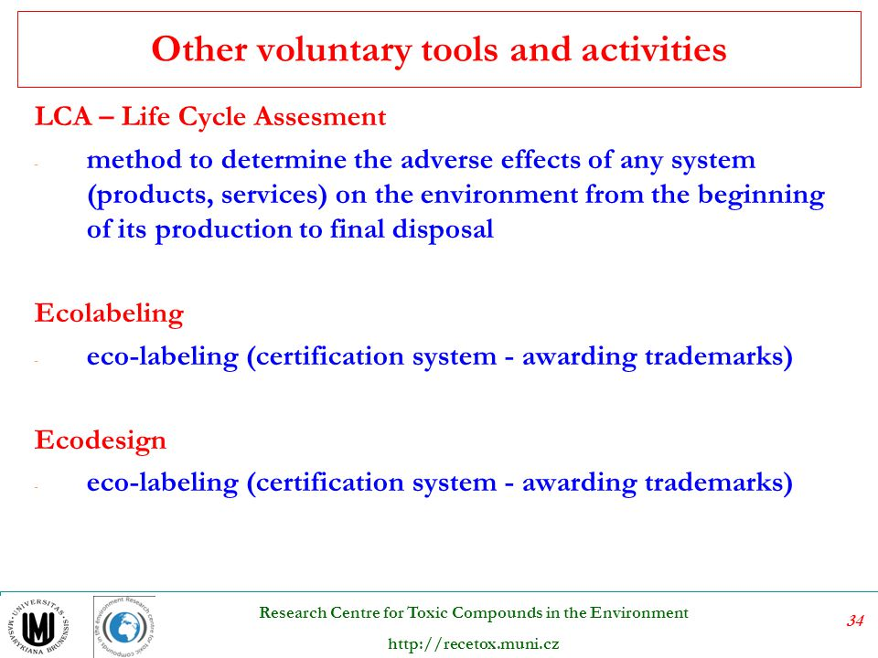 Other voluntary tools and activities
