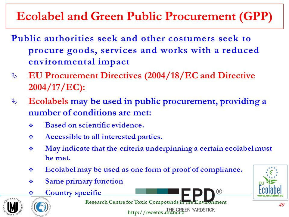 Ecolabel and Green Public Procurement (GPP)