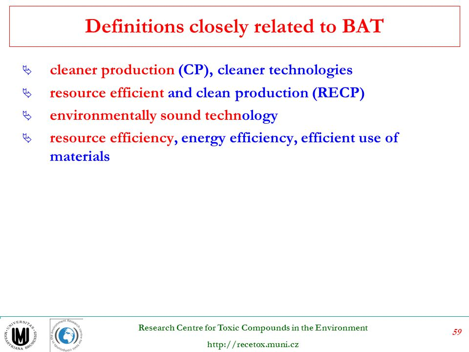 Definitions closely related to BAT