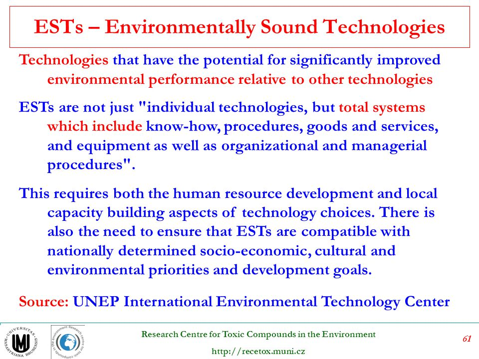 ESTs – Environmentally Sound Technologies