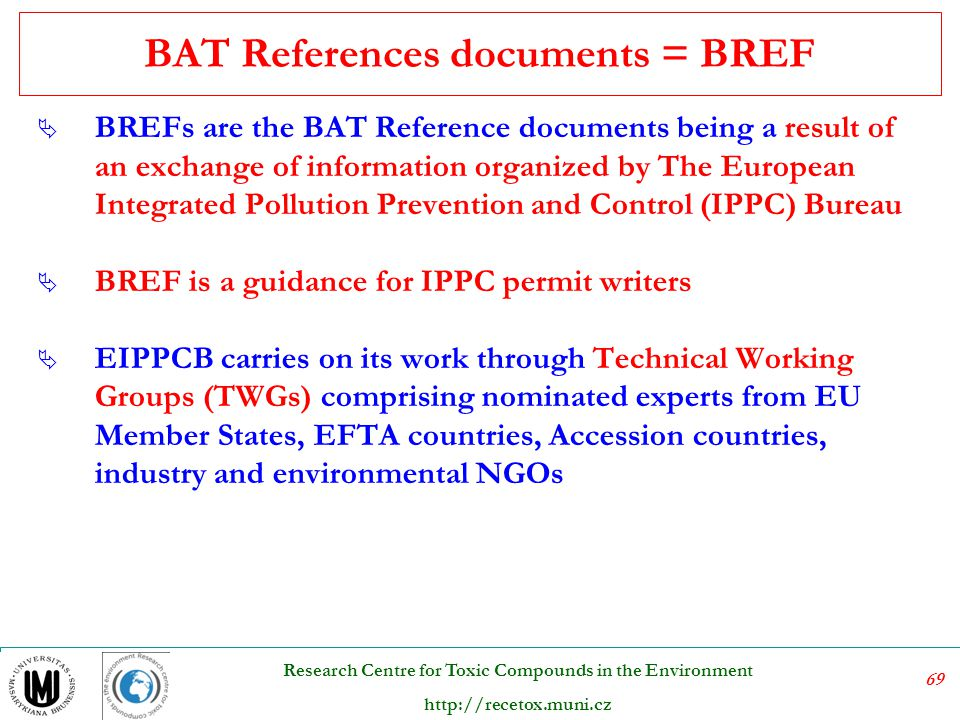 BAT References documents = BREF