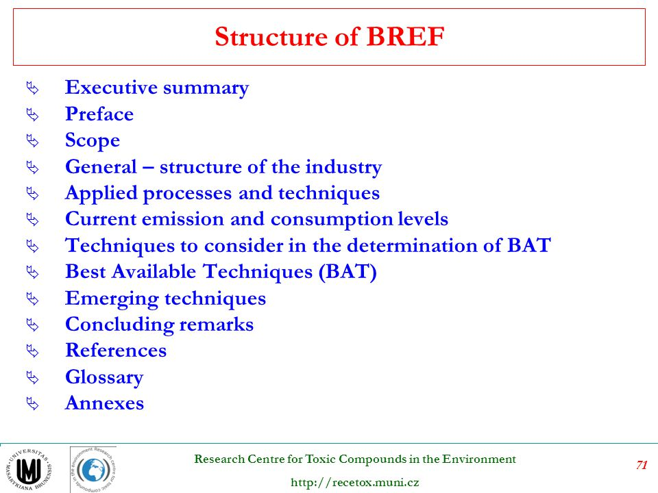 Structure of BREF Executive summary Preface Scope