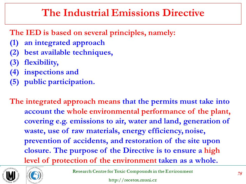 The Industrial Emissions Directive
