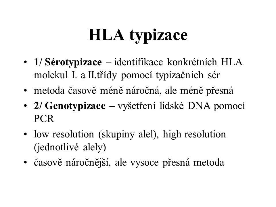 HLA typizace 1/ Sérotypizace – identifikace konkrétních HLA molekul I. a II.třídy pomocí typizačních sér.