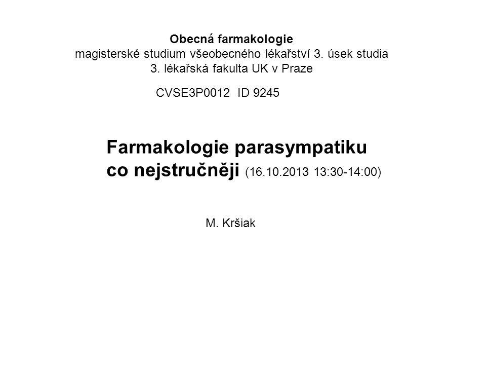 Farmakologie parasympatiku co nejstručněji (16.10.2013 13:30-14:00)