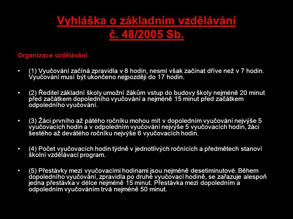 Vyhláška o základním vzdělávání č. 48/2005 Sb.