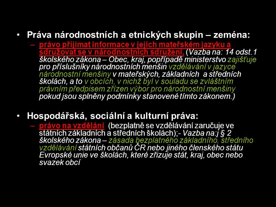 Práva národnostních a etnických skupin – zeména: