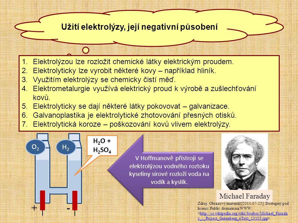 Užití elektrolýzy, její negativní působení