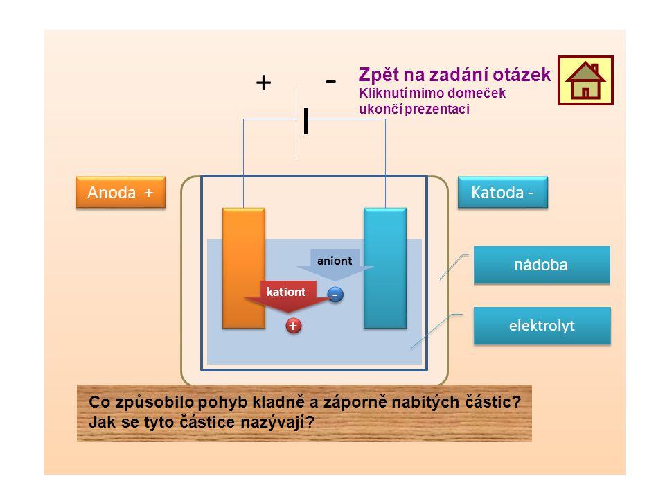 + - Zpět na zadání otázek Anoda + Katoda - nádoba - elektrolyt +