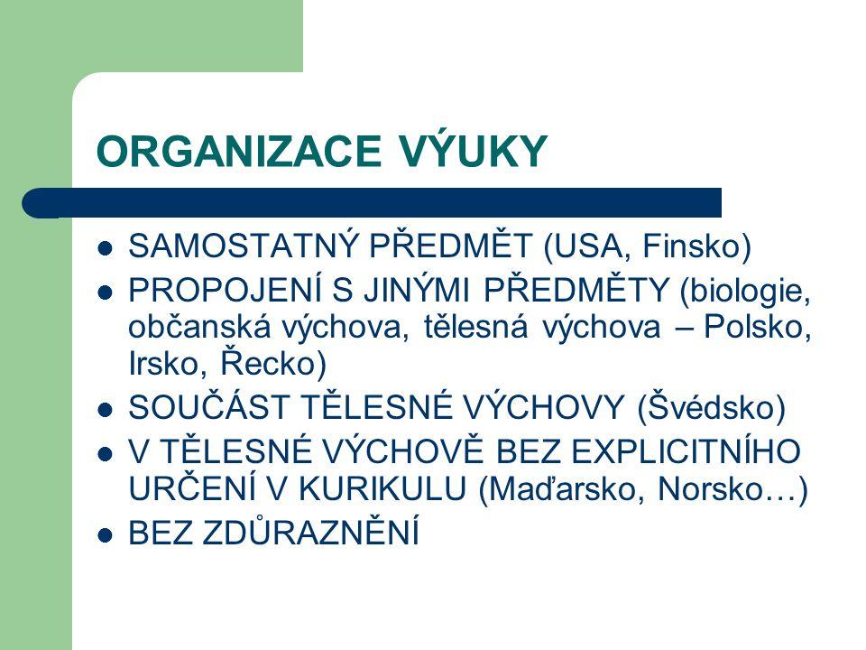 ORGANIZACE VÝUKY SAMOSTATNÝ PŘEDMĚT (USA, Finsko)