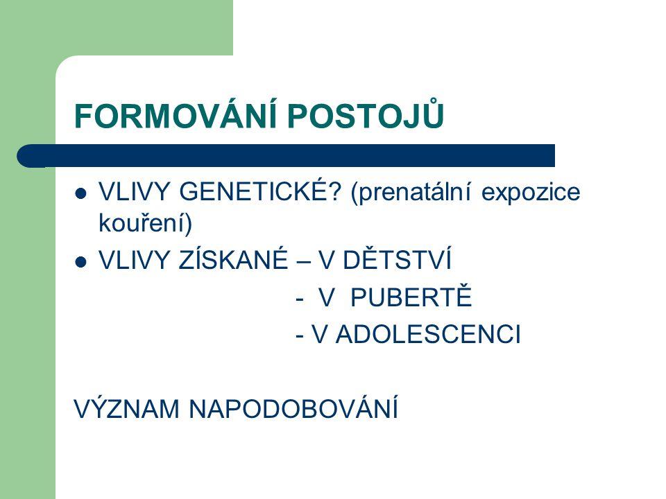 FORMOVÁNÍ POSTOJŮ VLIVY GENETICKÉ (prenatální expozice kouření)