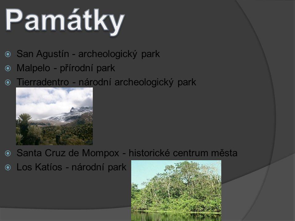 Památky San Agustín - archeologický park Malpelo - přírodní park
