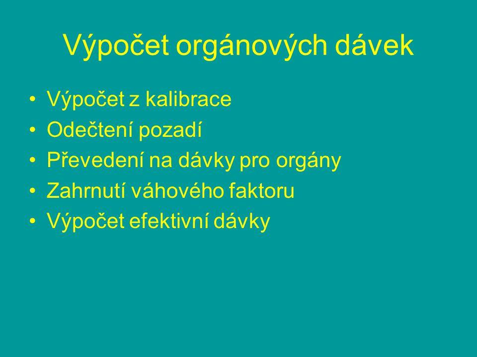 Výpočet orgánových dávek