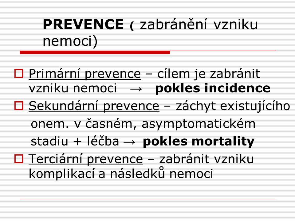 PREVENCE ( zabránění vzniku nemoci)
