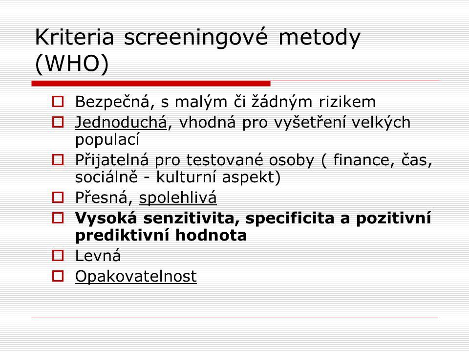 Kriteria screeningové metody (WHO)