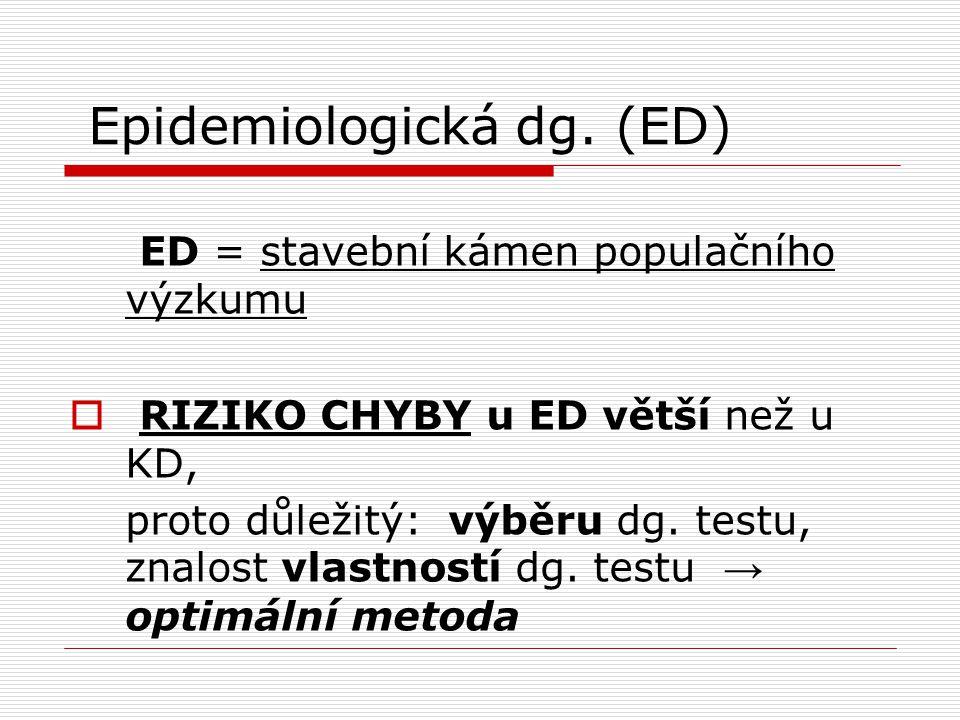 Epidemiologická dg. (ED)