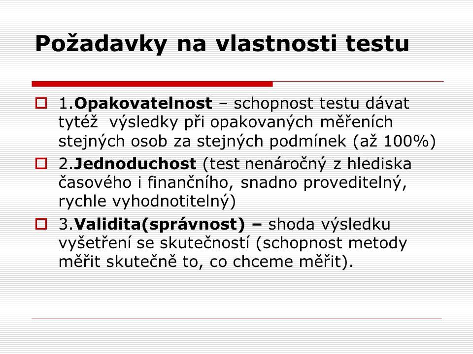 Požadavky na vlastnosti testu