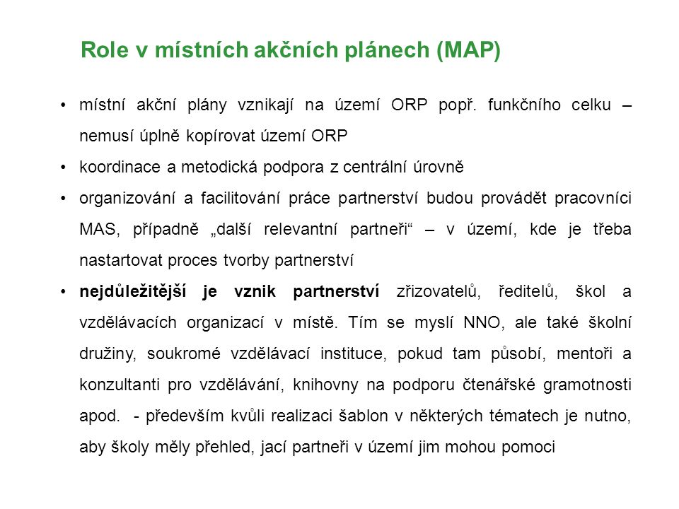 Role v místních akčních plánech (MAP)