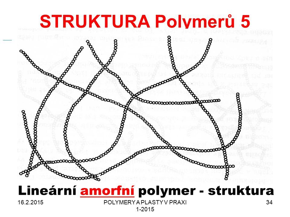 STRUKTURA Polymerů 5 Lineární amorfní polymer - struktura