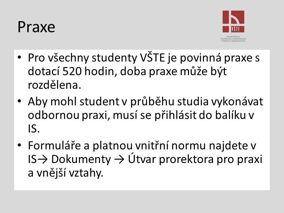 Praxe Pro všechny studenty VŠTE je povinná praxe s dotací 520 hodin, doba praxe může být rozdělena.