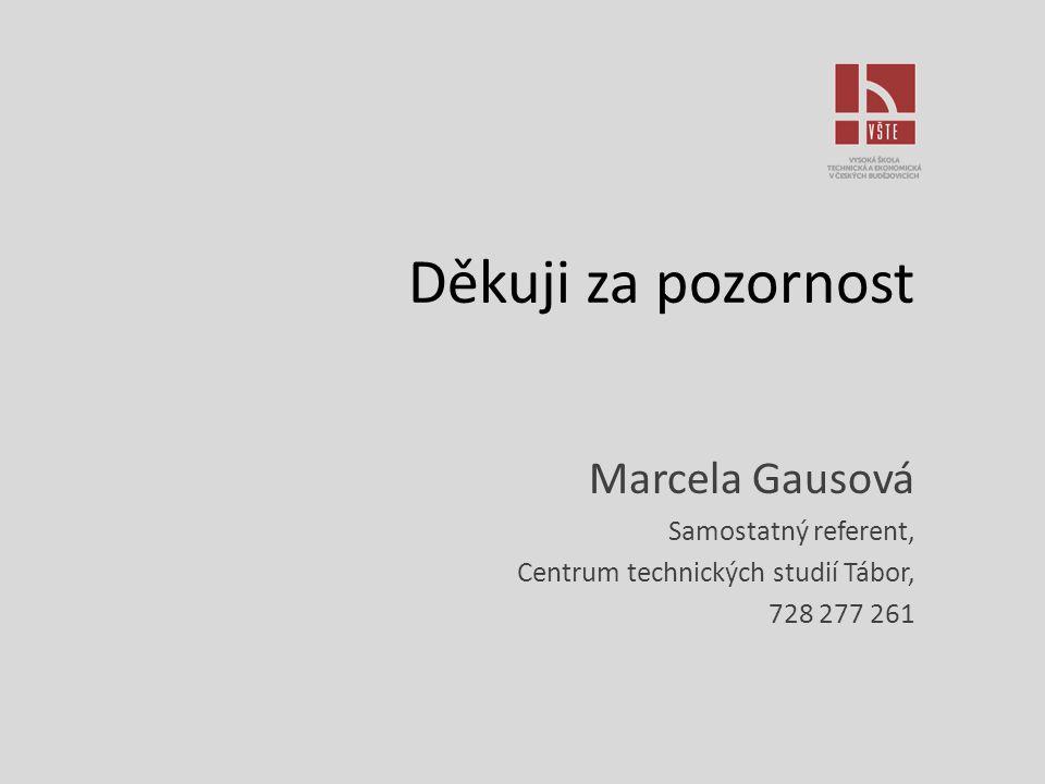 Děkuji za pozornost Marcela Gausová Samostatný referent,