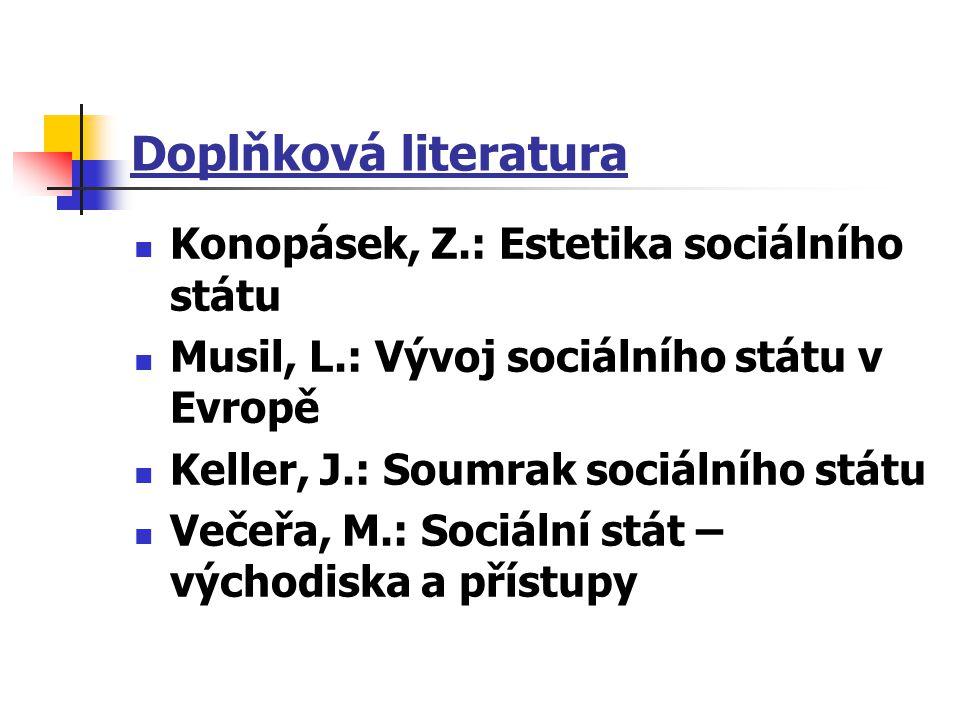 Doplňková literatura Konopásek, Z.: Estetika sociálního státu